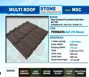 Genteng Metal Multi Roof Stone Permata