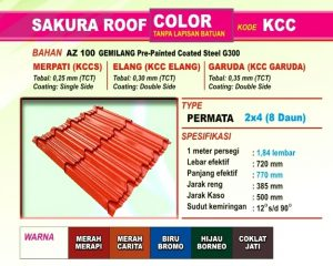 Genteng Metal Sakura Roof Color Permata
