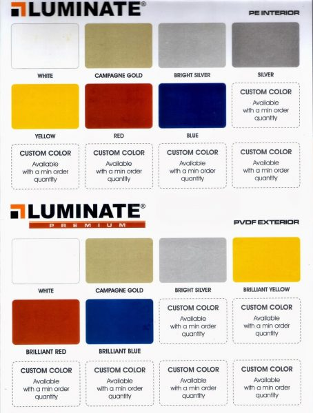 Aluminium Composite Panel Luminate Warna